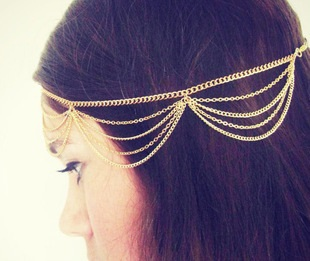 2014 Top Fashion gold alloy chain hand charm women's head bands hair accessories jewelry for women/girls  E-Sunny Jewelry TS04(China (Mainland))