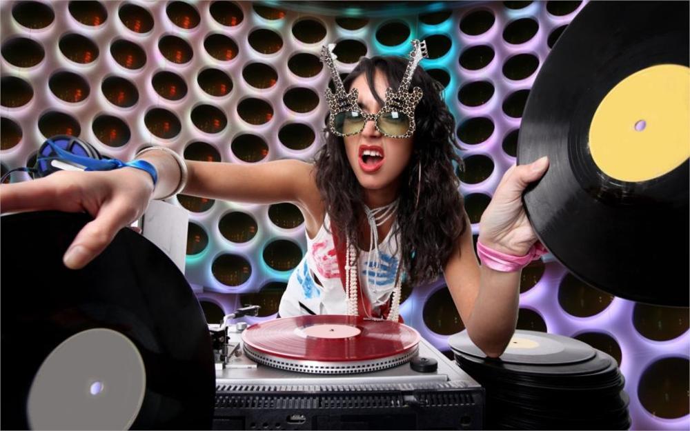 women DJ music glasses turntables vinyl 4 Sizes Silk Fabric Canvas Poster Print(China (Mainland))