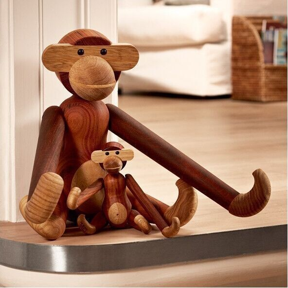 High qulity handcraft very funny wood monkey Kay bojesen series wood carving classic decoration animals Simulation birthday gif(China (Mainland))