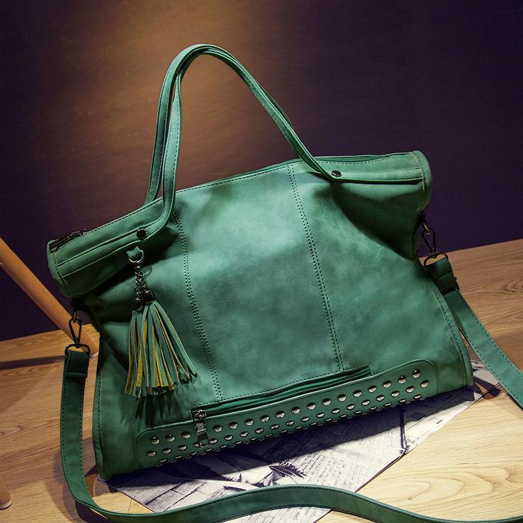 2016 new nubuck leather handbag women big bag ladies Euramerican tide frosted mobile messenger bag female rivets shoulder bags<br><br>Aliexpress