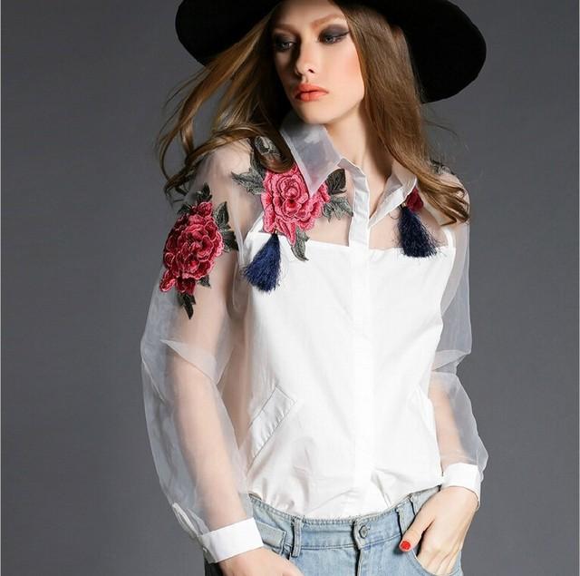 2015 летний стиль органзы лоскутная поло женщин блузки топы мода цветочной вышивкой ...