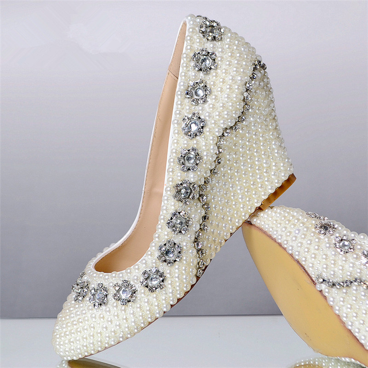 Shoes Round Toe Crystal Bridal Shoes Wedge Heel Shoes In Women 39 S Pumps
