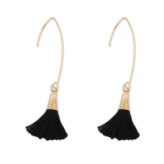 Бесплатная доставка! Аксессуары и украшения сплава цинка с шерстью настоящее позолоченные покрытие черный мода бахрома серьги