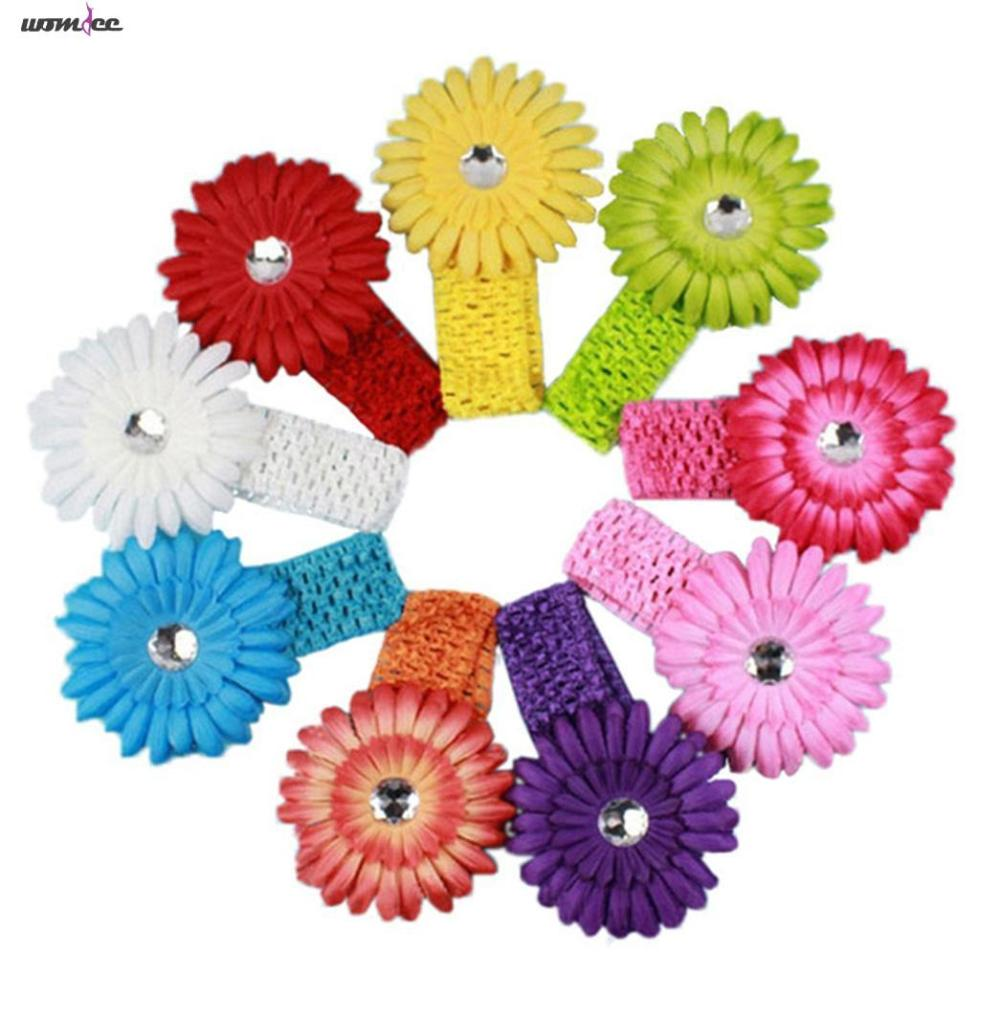 Womdee Boutique Daisy Flower Clip Elastic Headbands (9 Colors,Set of 9)(China (Mainland))