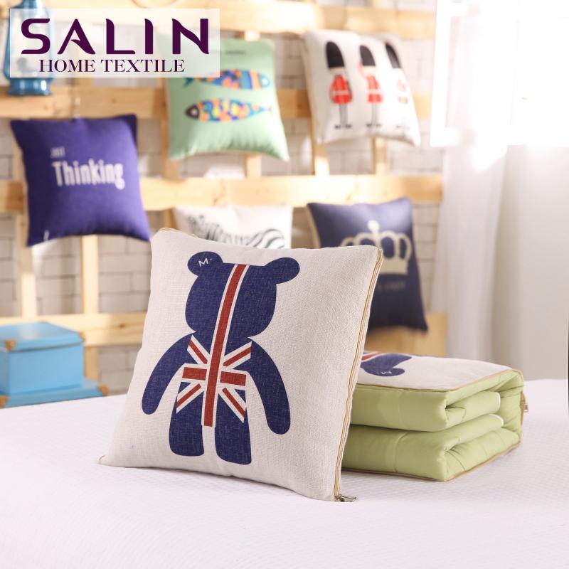 SaLin Cotton Linen Union Jack Bear Cushion Blanket Sleep Multi Function Blanket 45x45cm Throw Pillow New Arrival(China (Mainland))