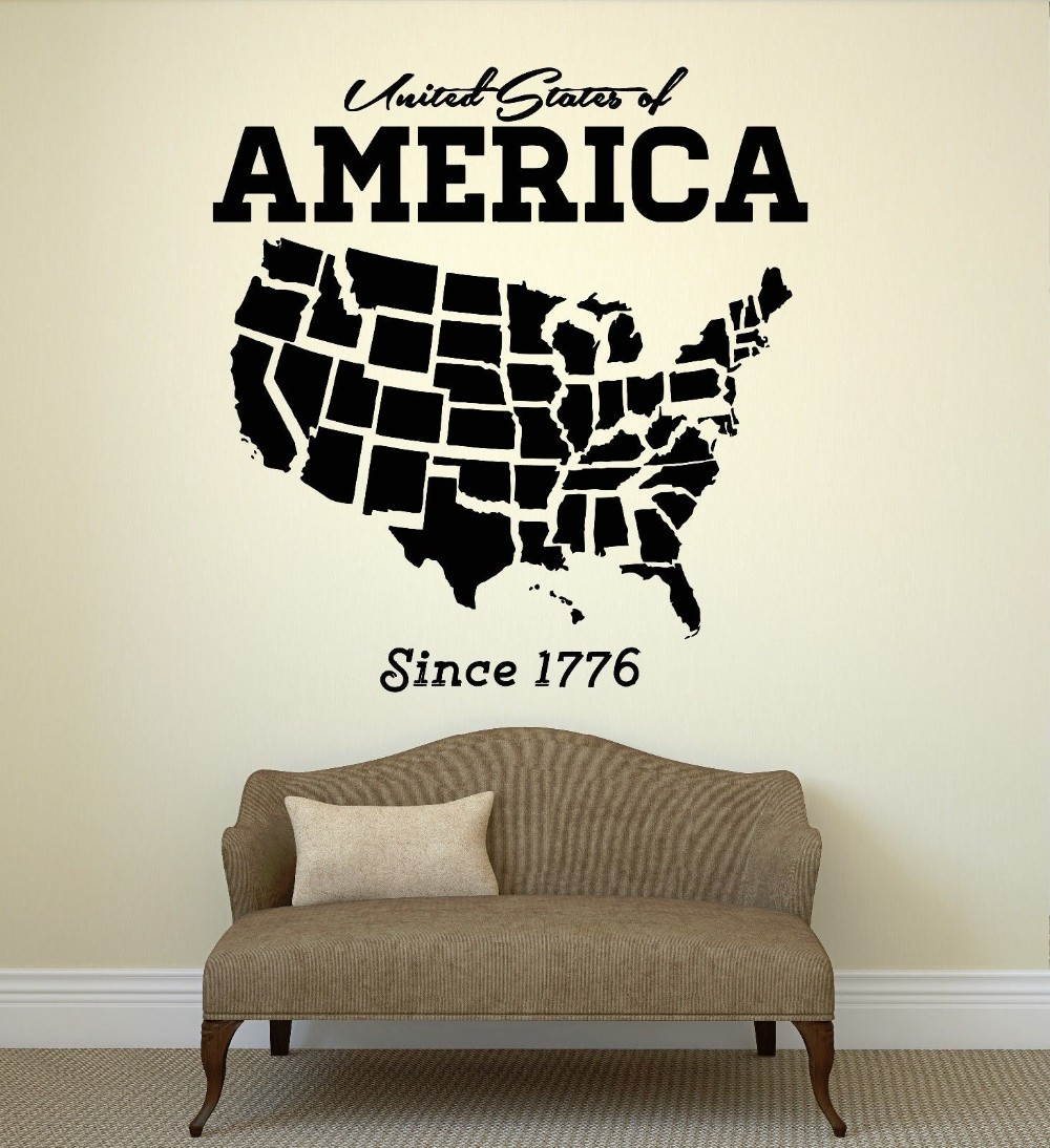 Free Shipping United States USA Map State Coolest Wall Decal Room Art Removble Vinyl Stickers Home Decoration(China (Mainland))