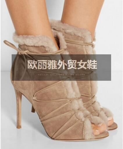 pee toe fur design ankle boots bandage women boots high quality suede leather lace-up shoes woman(China (Mainland))