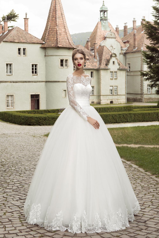 2016 elegant long sleeve wedding dress ball gown garden for Cheap long sleeved wedding dresses