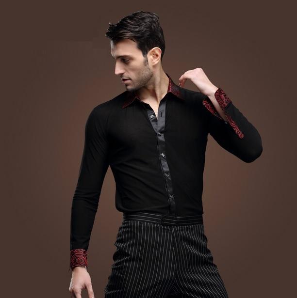Adult mens male boys black color fashion collar latin ballroom dance shirt costumes men Salsa ...