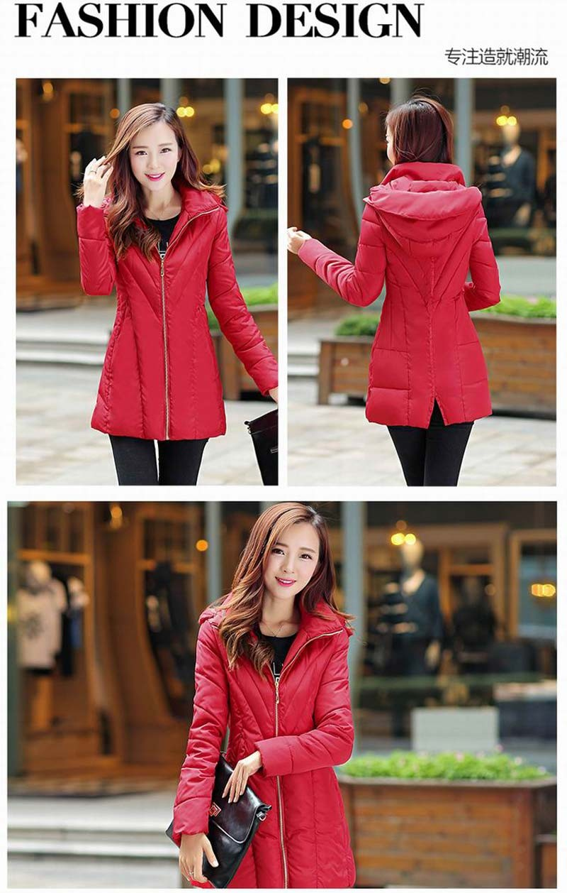 6 colors new 2016 autumn and winter Korean thick Wadded Jackets women fashion slim hooded long down cotton jacket Coat AE853