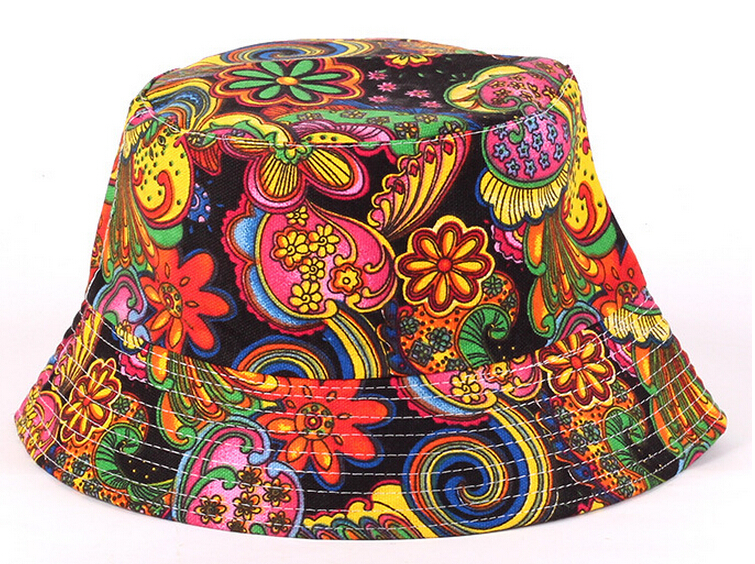 Women Floral Sun Hat, Design Summer Beach Flower Canvas Boonie Fisherman Hats,Sun Protection Fishing Bucket Hat Cap For Girl(China (Mainland))