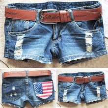 2014 New Fashion Women's Cool Denim Wash Distressed American Flag Low Waist Short Pants Jeans Trousers Hot Pant 51