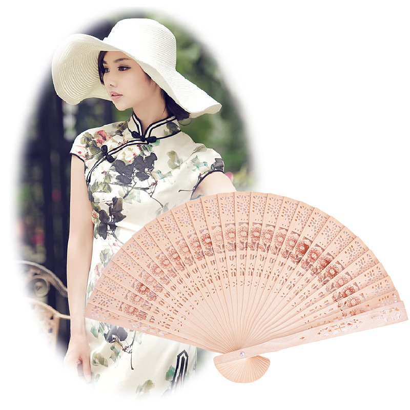 Classic Lady Gift Chinese Oriental Elegant Sandalwood Wooden Hollow Hand Fan #70965(China (Mainland))
