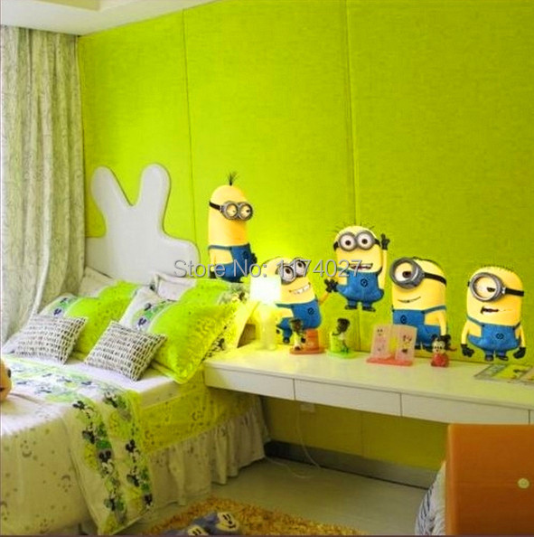 Free shipping DESPICABLE ME 2 cute cartoon MINIONS wall sticker decoration Removable Vinyl Art decals room kid decor(China (Mainland))