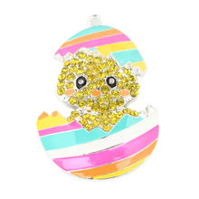 2016 Newest 50*33mm Rainbow Easter Egg Baby Chick Rhinestone Pendant 5Pcs/lot For Children Kids Necklace Making(China (Mainland))