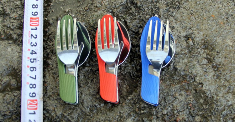 Outdoor <font><b>camping</b></font> tableware portable EDC tools ,Stainless Steel 3 in1 Multi-Function Folding Spoon Fork knife Travel sets Gears