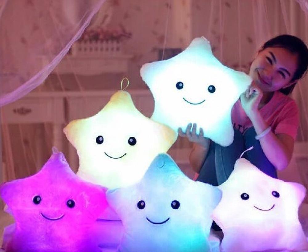 1pcs 38cm Led Light Pillow, Luminous pillow Christmas Toys, plush Pillow, Hot Colorful Stars,kids ToysBirthday Gift(China (Mainland))