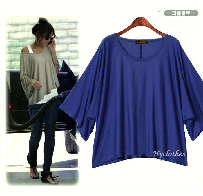 Cheaper china clothes 2015 summer blue ,purple casual women's loose t-shirt tops batwing sleeve plus size S-XL tees A029 - Sun Good Quality Commodity Co., Ltd. store