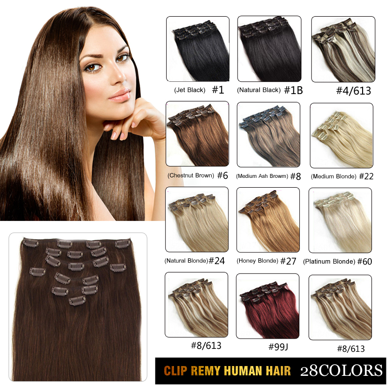Free Shipping,Clip in On Hair Extension, Indian Virgin Remy Hair, 20, 70g, Jet Black #1, 7pcs/set<br><br>Aliexpress