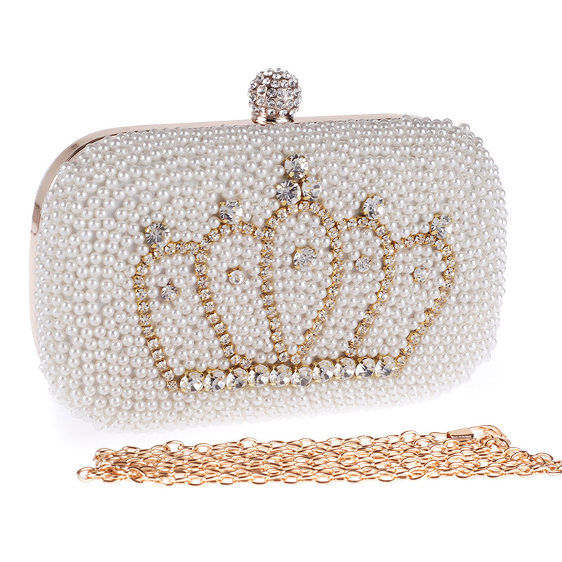 2016 Pearl Imperial Crown Diamond Evening Clutch Bags Chain Metal Women Party Purses Gorgeous Bridal Wedding Bag A868(China (Mainland))