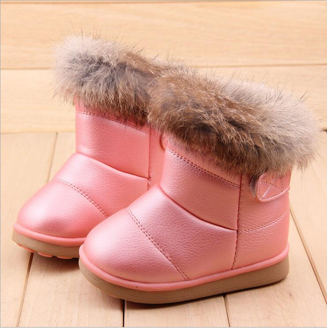 Зима Теплая Мода Ребенка Девушки Снег Boots Обувь Мягкое Дно удобные Детские Девушки Открытый Снег Хлопка Обувь Плюшевые Ботильоны девушка