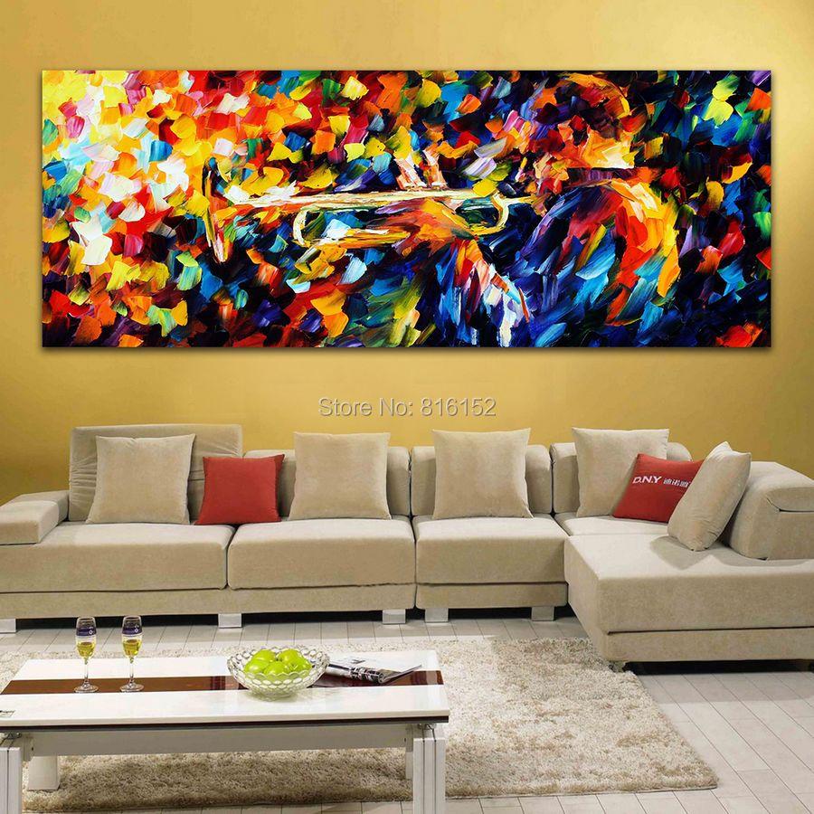 Midmight alma dos azuis trompete jogo da faca de paleta pintura a óleo imagem impressa sobre tela para Home Office Hotel de parede arte decoração(China (Mainland))