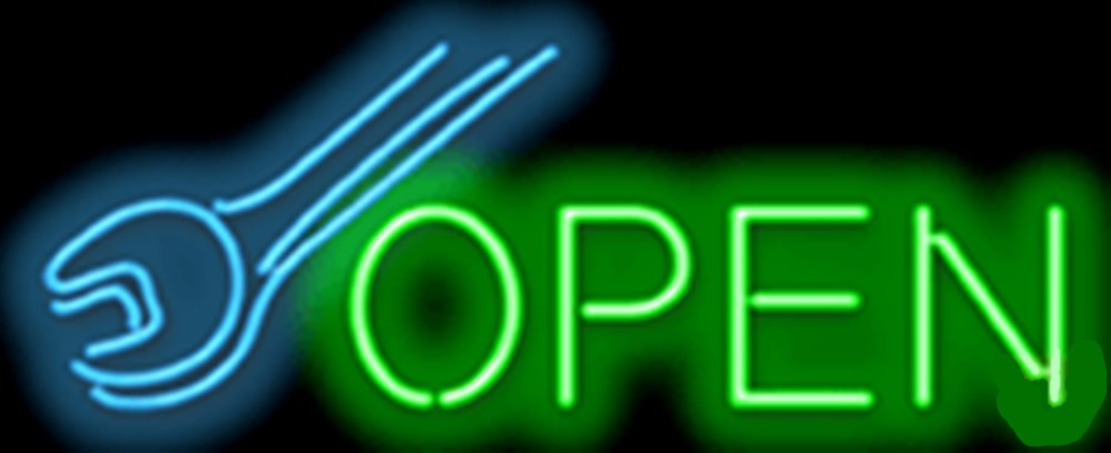L-AM-30-38_Open with Wrench Neon Sign - Clearance