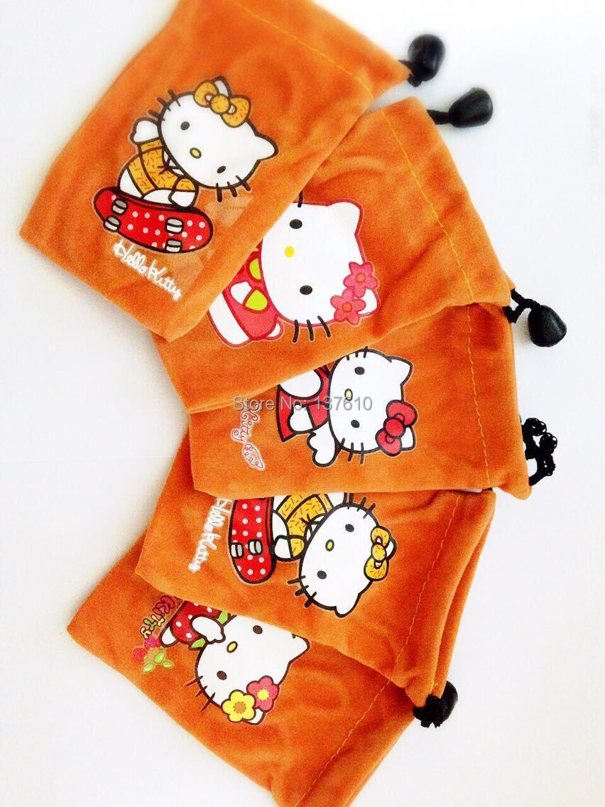 Free shipping 10pcs/lot orange Hello Kitty Pouch Case Bag for Mobile Phone MP3 MP4(China (Mainland))