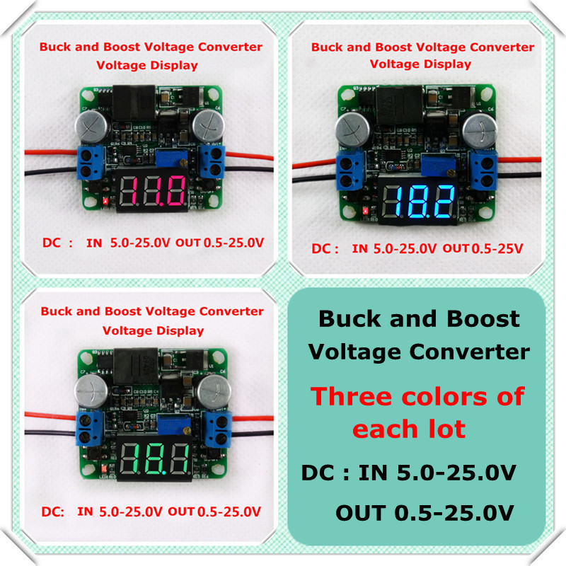 Three colors voltage display DC-DC Adjustable Step up/down Power Supply Module boost and buck converter 5-25V [ 3 pcs/lot](China (Mainland))