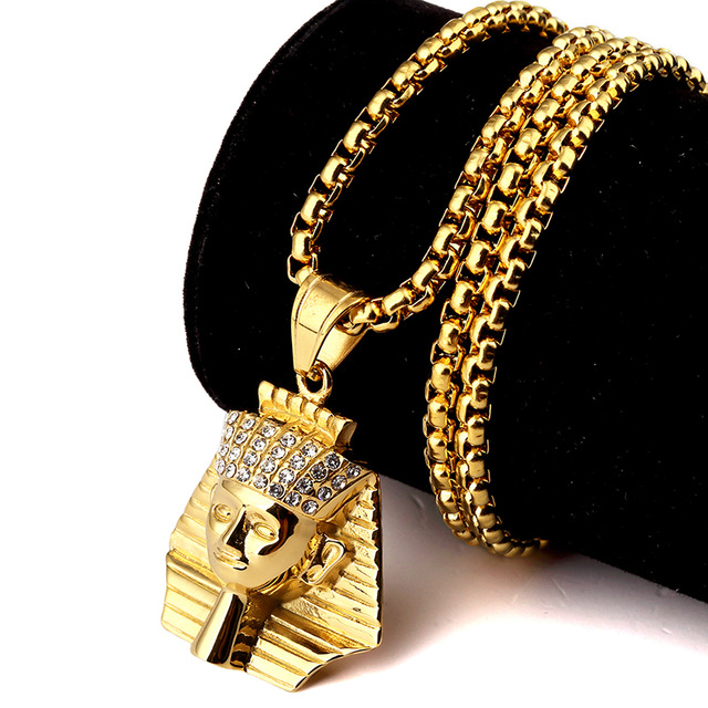 Women Men Bling Titanium Steel Egypt Pharaoh Chains Hip Hop Jewelry Gifts Pendants 18K Gold Plated Crystal Last King Necklaces(China (Mainland))