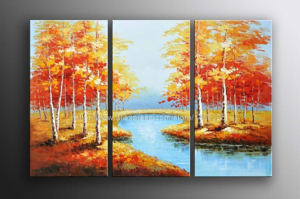 Holiday Sales X Abstract Art River Landscape Oil Painting Oil Painting Home Decoration Items Wall Paintings Home Decor Ch(China (Mainland))