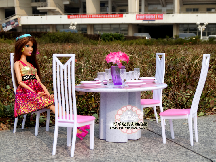 New fashion play set for barbie furnishings front room tables and chairs dollhouse Puzzle toys