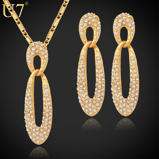 U7 Full Crystals Necklace Set Free Shipping Trendy 18K Real Gold Plated Rhinestone Necklace Earrings Jewelry Set For Women S422(China (Mainland))