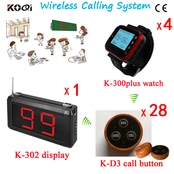 Restaurant Table Numbers Of 4 Waiter Call Pager and 28 Different Types Of Buzzers Colorful Waterproof With 1 Counter Panel(China (Mainland))