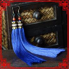 Exaggerate stage performance Earrings women vintage Ethnic fringe earrings, shell flowers long blue tassel earrings(China (Mainland))