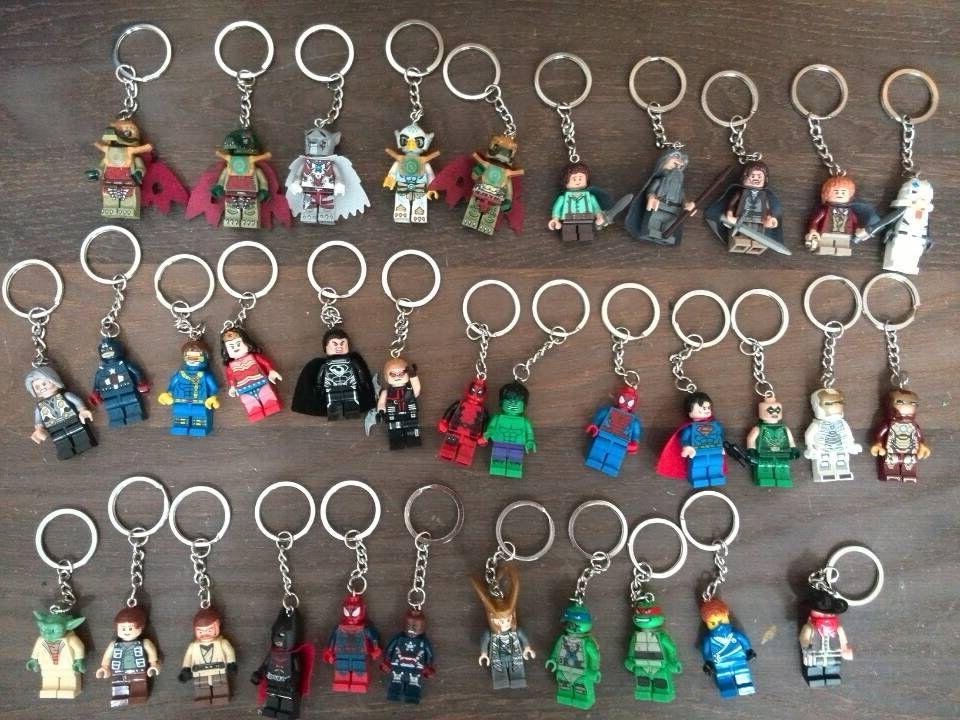 10Pcs Building Blocks Super Heroes Avengers Minifigures With Keychains Key Ring Star Wars Ninja Turtles Hulk Batman Spiderman(China (Mainland))