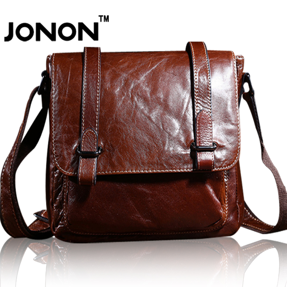 JONON Men Bag 2016 Fashion Genuine Leather Man Messenger Bags Cross Body Shoulder Bag Vintage Bolso Casual Dollar Price For Male<br><br>Aliexpress