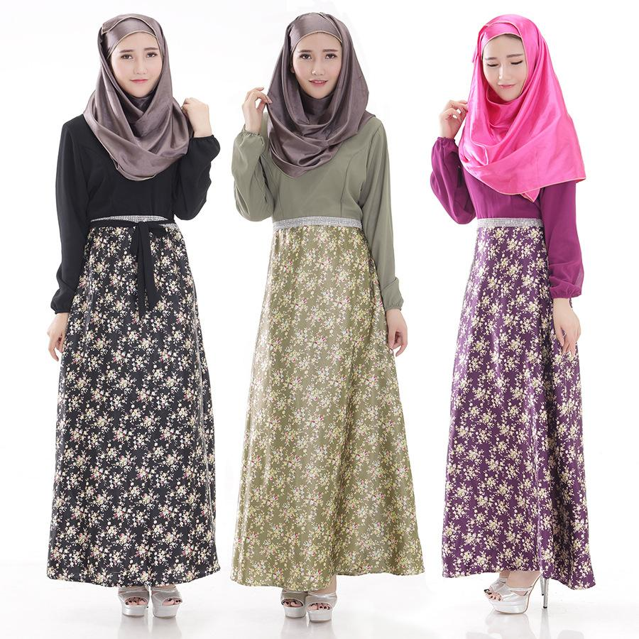 2015 New Hot sale Muslim women abayas Floral Printing Long sleeve Dubai Kaftan MIddle East fashion abaya Fashion Muslim clothing(China (Mainland))