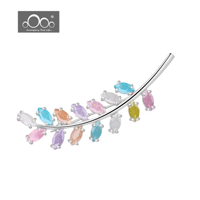 ATLIFES The wind leaf for platinum Plating Brooch AAA ice zircon inlaid pure lady clothing Brooch gift AOC001(China (Mainland))