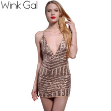 Buy Wink Gal Sequined Women Party Dresses Sexy Backless Sheath Club Dresses Prom Gold Sequin Summer Style Sleeveless Ladies Dress for $17.24 in AliExpress store