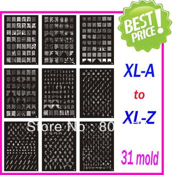 Free Shipping Christmas Holiday XL Medium Size Stamping Image Konad Plate Retail A-Z Print Nail Art Large BIG Template DIY