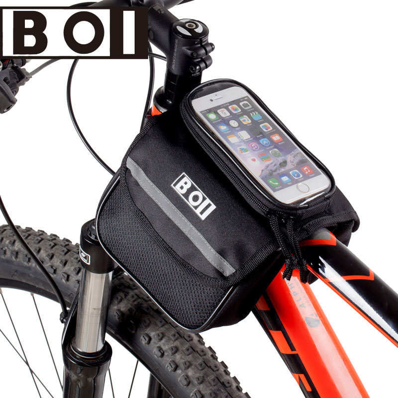 Bicycle Smart Phone Pouch Cycling Bike Top Frame Tube Bag Storage Pannier 5.0/5.5 inchesTouch Screen Cycling MTB Road BOI 121049(China (Mainland))
