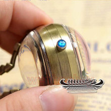wholesale buyer price good quality Chic accessories Steampunk Skeleton bronze glass ball mechanical pocket watch