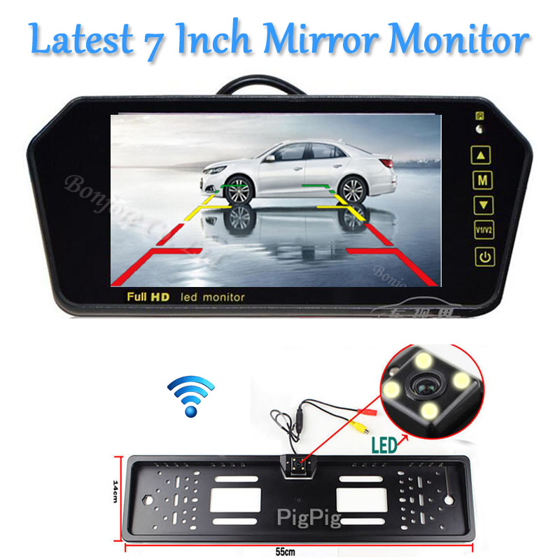 Wireless 7inch LCD TFT Vehicle Mirror Monitor DVD/VCD/GPS/TV Touch button car Europe License Plate Frame Rearview Parking Camera(China (Mainland))
