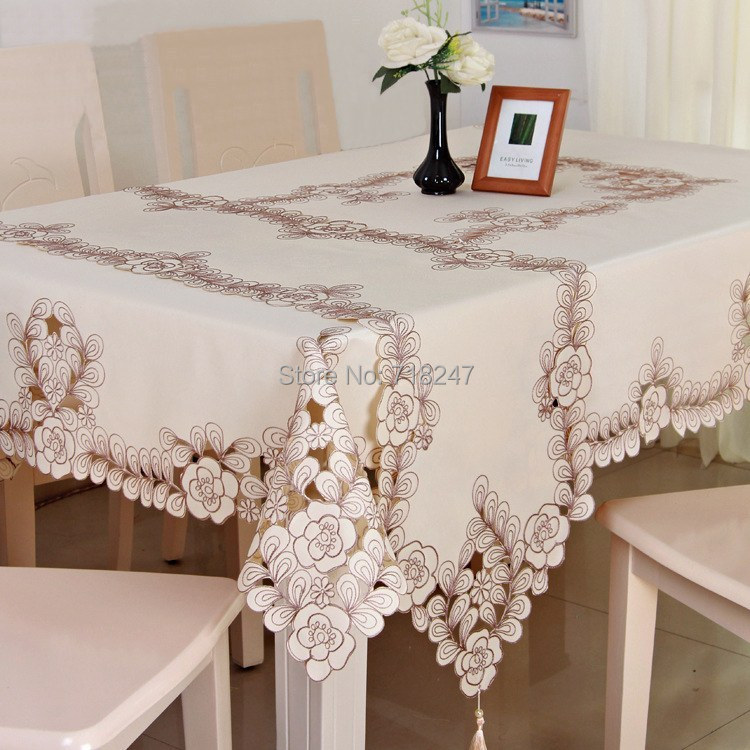 Simple Elegant Polyester Satin Embroidery Floral Tablecloth Solid Color Grey Embroidered Table Linen Cloth Cover Overlay YYM038(China (Mainland))