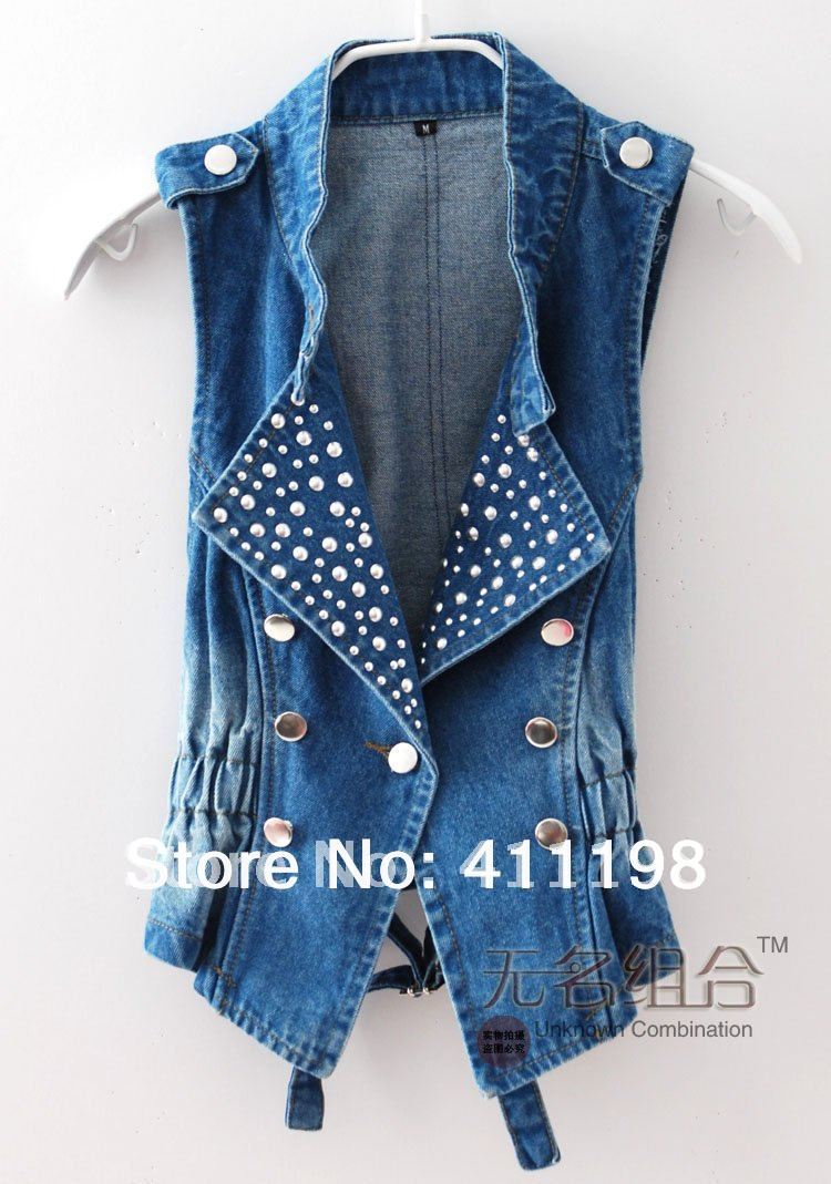 aolover shipping! Best seller double breasted front sleeveless denim vest women jeans WF1002 + DK Blue, Lt Blue 2 colors(China (Mainland))