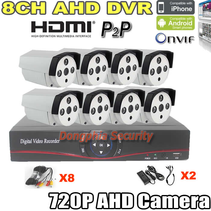 4CH 720P AHD Camera KIT Security Full HD dvr KIT H.264 digital Video Recorder ONVIF with 4 pcs Array LEDs Outdoor Waterproof cam<br><br>Aliexpress