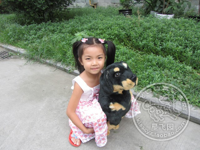 simulation animal 35 cm squatting Rottweiler dog plush toy black dog doll gift k0557(China (Mainland))