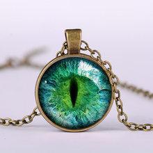 SONGDA ゴシックドラゴン眼球ロングネックレス流行活気のある鮮やかな色邪眼ガラスカボションペン(China)