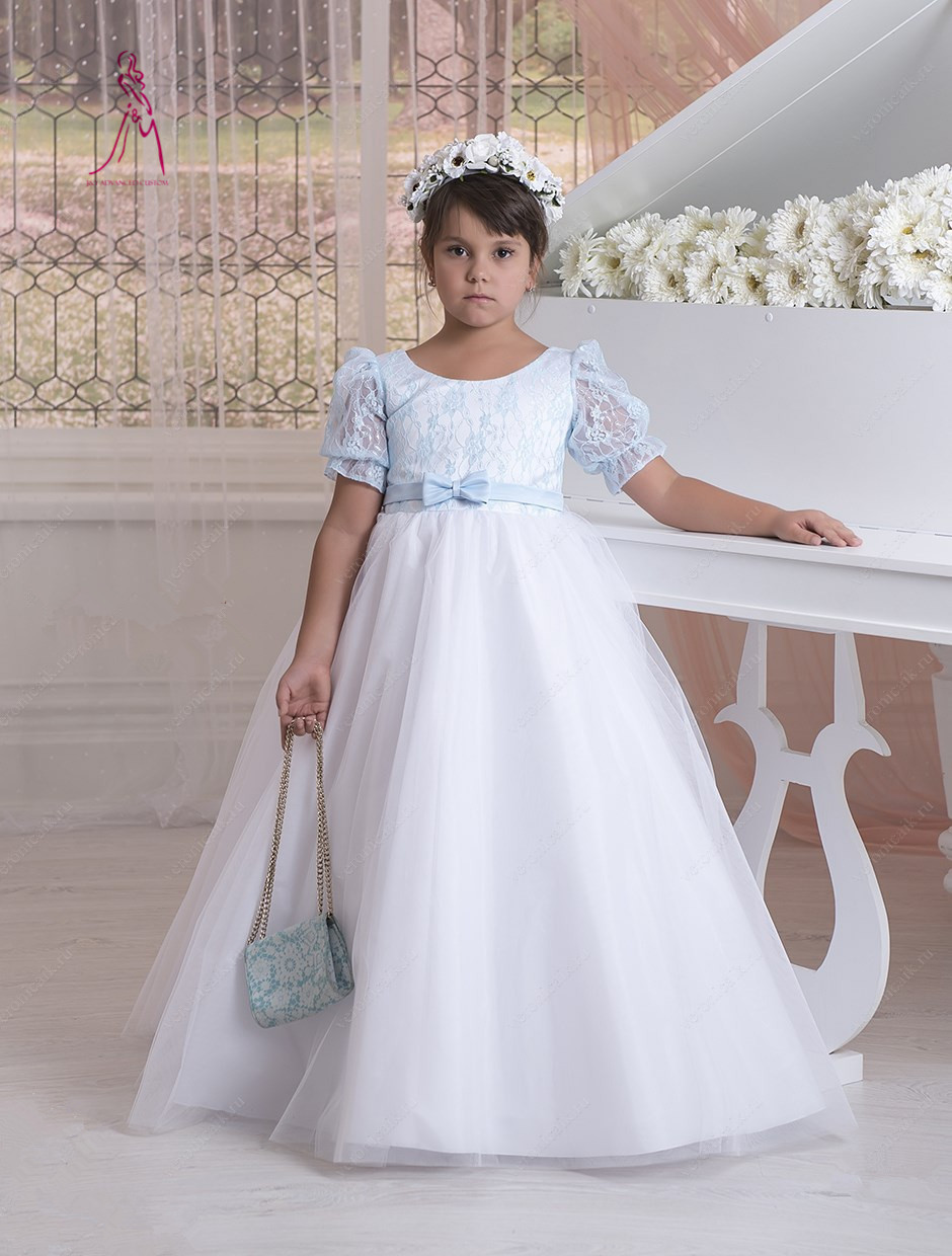 JY 2016 Hot Sale Short Sleeve Flower Girl Dresses Tulle Lace With Sashes Long Flower Girl Dress A-Line First Communion Dress(China (Mainland))